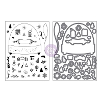 Prima - Sweet Peppermint Collection - Snowglobe Cling Stamp & Die Set