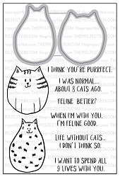 The Project Bin - Clear Stamp & Die Set - Feline Good
