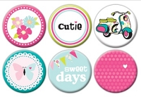 Queen & Co. - Flair Tin Badge Stickers - Girl
