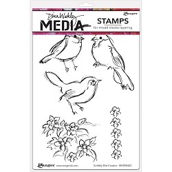 Ranger - Dina Wakley Media - Cling Mounted Rubber Stamp Set - Sribbly Bird Cousins