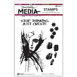 Ranger - Dina Wakley Media - Cling Mounted Rubber Stamp Set - Splatter Girl