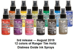 Ranger - Tim Holtz Distress Oxide Spray Ink - all 12 August 2019 new colors (SPECIAL 10% off regular price)