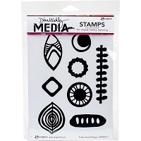 Ranger - Dina Wakley Media - Cling Mounted Rubber Stamp Set - Funky Journal Shapes