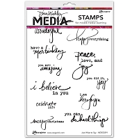 Ranger - Dina Wakley Media - Cling Mounted Rubber Stamp Set - Just What To Say