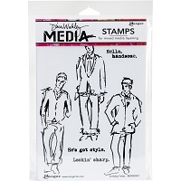 Ranger - Dina Wakley Media - Cling Mounted Rubber Stamp Set - Scribbly Fellas