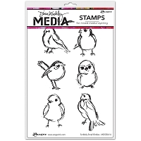 Ranger - Dina Wakley Media - Cling Mounted Rubber Stamp Set - Scribbly Small Birdies