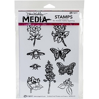 Ranger - Dina Wakley Media - Cling Mounted Rubber Stamp Set - Scribbly Small Flowers and Insects