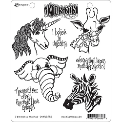 Dylusions - Cling Rubber Stamps - I Believe In Unicorns