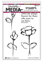 Ranger - Dina Wakley Media - Cling Mounted Rubber Stamp Set - Always Flowers