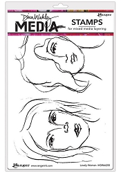 Ranger - Dina Wakley Media - Cling Mounted Rubber Stamp Set - Lovely Women