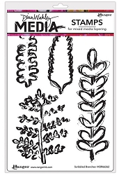 Ranger - Dina Wakley Media - Cling Mounted Rubber Stamp Set - Scribbled Branches