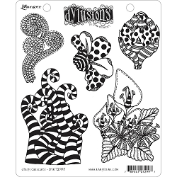 Dylusions - Cling Rubber Stamps - Stripy Curlicues