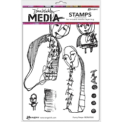 Ranger - Dina Wakley Media - Funny Peeps Cling Mounted Rubber Stamp Set