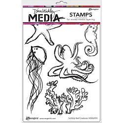 Ranger - Dina Wakley Media - Scribbly Reef Creatures Cling Mounted Rubber Stamp Set