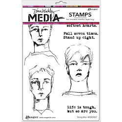 Ranger - Dina Wakley Media - Strong Men Cling Mounted Rubber Stamp Set