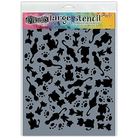 Ranger - Dyan Reaveley's Dylusions Stencils - It's Raining Cats 9