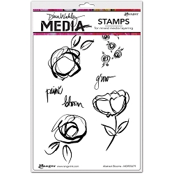 Ranger - Dina Wakley Media - Cling Mounted Rubber Stamp Set - Abstract Blooms