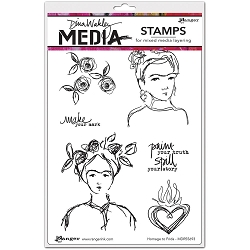 Ranger - Dina Wakley Media - Cling Mounted Rubber Stamp Set - Homage To Frida