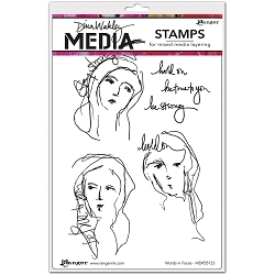 Ranger - Dina Wakley Media - Cling Mounted Rubber Stamp Set - Words In Faces