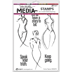 Stamper's Anonymous/Ranger - Dina Wakley Media - Cling Mounted Rubber Stamp Set - Contour Figures