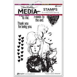 Stamper's Anonymous/Ranger - Dina Wakley Media - Cling Mounted Rubber Stamp Set - Friends To The End