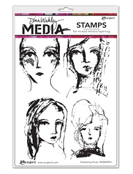 Stamper's Anonymous/Ranger - Dina Wakley Media - Cling Mounted Rubber Stamp Set - Interesting Faces