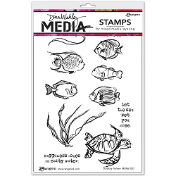 Stamper's Anonymous/Ranger - Dina Wakley Media - Cling Mounted Rubber Stamp Set - Scribbly Fishes