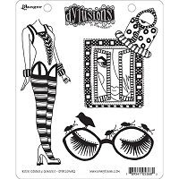 Dylusions - Cling Rubber Stamps - Rose Colored Glasses