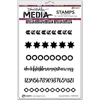 Ranger - Dina Wakley Media - Cling Mounted Rubber Stamp Set - Assorted Borders