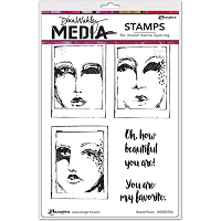 Ranger - Dina Wakley Media - Cling Mounted Rubber Stamp Set - Boxed Faces