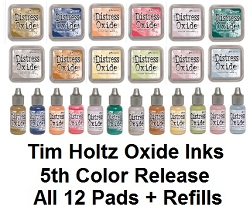 Ranger - Tim Holtz Distress Oxide Ink Pads and Reinkers - 5th Generation all 12 colors (SPECIAL 15% off regular price)