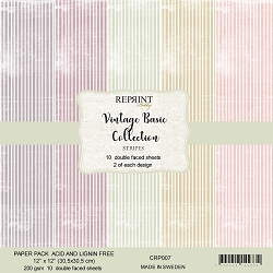 Reprint - Vintage Basic Stripes 12x12 collection kit