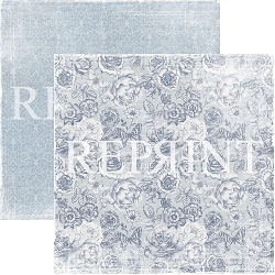 Reprint - Dusty Blue Big Roses 12x12 cardstock