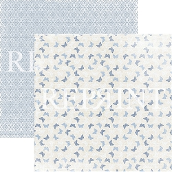 Reprint - Dusty Blue Butterflies 12x12 cardstock