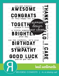 Reverse Confetti - Clear Stamps - Best Sentiments