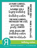 Reverse Confetti - Clear Stamps - Birthday Wishes