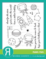 Reverse Confetti - Clear Stamps - Moon Men