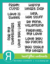 Reverse Confetti - Clear Stamps - Heart Filled Sentiments