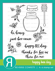 Reverse Confetti - Clear Stamps - Happy Bee Day