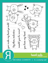 Reverse Confetti - Clear Stamps - Heart Pals