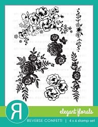 Reverse Confetti - Clear Stamps - Elegant Florals