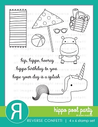 Reverse Confetti - Clear Stamps - Hippo Pool Party
