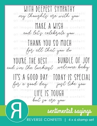 Reverse Confetti - Clear Stamps - Sentimental Sayings