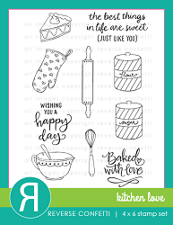 Reverse Confetti - Clear Stamps - Kitchen Love