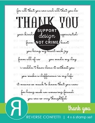 Reverse Confetti - Clear Stamps - Thank You