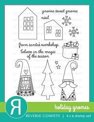 Reverse Confetti - Clear Stamps - Holiday Gnomes