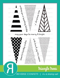 Reverse Confetti - Clear Stamps - Triangle Trees