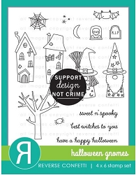 Reverse Confetti - Clear Stamps - Halloween Gnomes