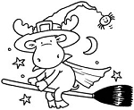 Riley and Company Cling Mounted Rubber Stamp - Witch on Broom Riley