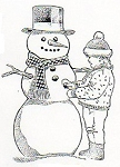 Rubber Stamp Avenue-Cling Rubber Stamp-Child with Snowman